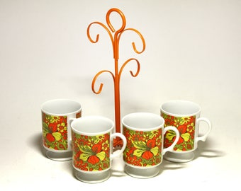 Vintage Psychedelic Coffee Mugs with Metal Rack - circa 1960's