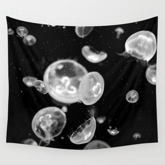 Moon Jellyfish Tapestry, Jelly Tapestry, Ocean Decor, Nautical, Office, Coastal Large Wall Decor, Surf, Dorm, Nature, Beach, Black White