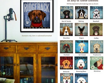 Ridgeback dog wine company graphic dog art giclee archival signed artist's print by stephen fowler PIck A Theme