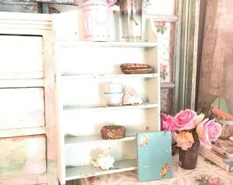 Chippy minty green wood shelf  shabby chic cottage chic patina