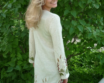 Knit Cardigan Jacket Linen Clothing Long cardigan White cardigan Oversize cardigan long sleeved cardigan