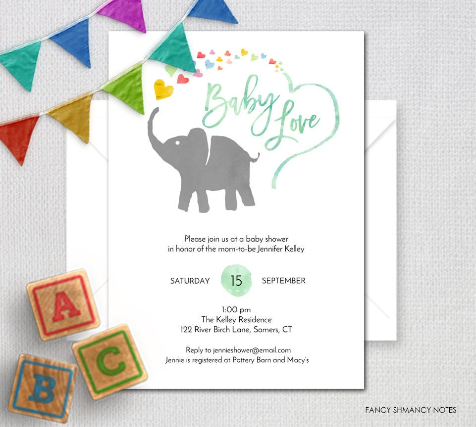 Rainbow Baby Shower Invitation, Gender Neutral Watercolor Elephant ...