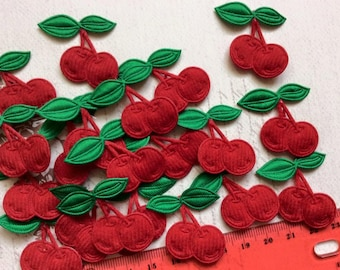 SET of 20  Felt Red Padded Cherry Appliques
