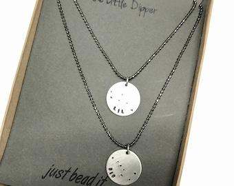 Big Dipper Little Dipper Constellation Necklace/ Silver Necklace Hand Stamped Ursa Major Minor  / Constellation Necklace / Stars of Zodiac