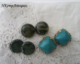 Vintage earrings x 3 clip ons
