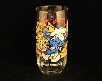 """Vintage Smurfs Collector's Edition Drinking Glass """"Baker Smurf""""!"""