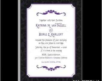 MANSION BROCADE / Dark Haunted Mansion Goth Wedding or Party Invitations Announcements
