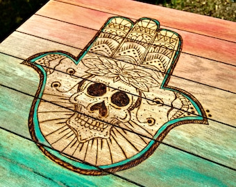 Hamsa Hand of Fatima wood burn and painting on wood