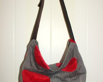 Black and Red Dot Tapestry Bag