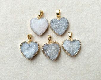 5 pcs Gold Plated Natural Agate Titanium AB Druzy heart Pendant Bead Titanium Druzy  Pendant Brilliant Drusy Gemstone Geode Jewelry   PD268