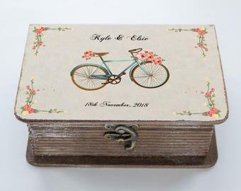 Bicycle Wedding box, Personalized ring box, Wedding Ring Box Floral ring bearer box Еngagement ring box Ring holder Custom ring box Book box