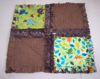 Animal Party Turtles Mini Security Blanket \/ Raggedy Quilt
