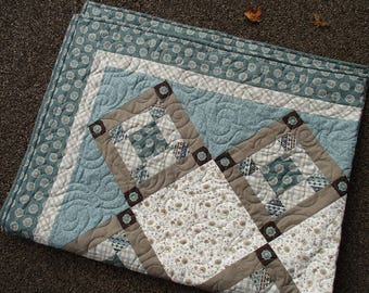 Quilted Throw Blanket, Teal Lap Quilt, Patchwork Squares Cotton Sofa Throw, Bridal Shower Gift for Home, Anniversary Gift, Modern Home Decor