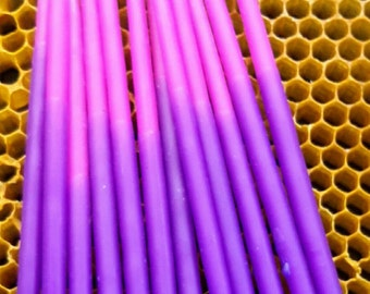 Beeswax Candles, Hand Dipped Birthday Candles, OmbreTapers, Coloured Beeswax Candles