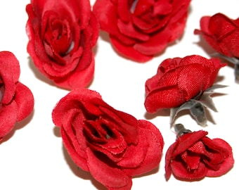 12 Tiny Red Silk Roses - Artificial Flowers, Silk Roses - PRE-ORDER