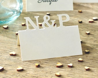 Wedding Place Cards - Personalised Initials Place Cards - Table Guest Name Cards - Ivory - White - Set of 10