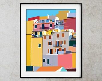 Cinque Terre printable wall art Manarola Colorful art Italy Cinque Terre Printable art Colorful art Riomaggiore Cinque Terre Architecture