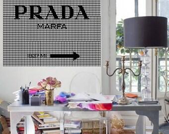 Prada Marfa logo with  houndstooth patterns art print Prada poster Prada warecolor Prada home decor Prada wall decor Prada painting
