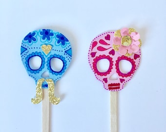 Skull Cupcake Toppers - Gender Reveal Sugar Skull Cupcake Toppers - Day of the Dead -  Fiesta Wedding Cake Toppers - Sugar Skull Baby Shower