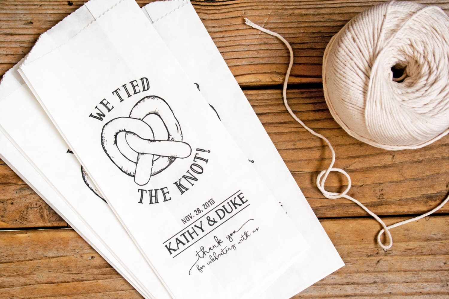Personalized Pretzel Bag We tied the knot Tall Philly