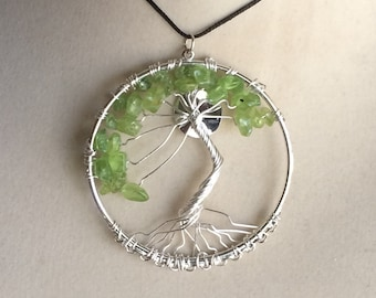 Peridot Tree of Life Pendant Wire Wrapped Necklace