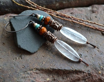 Opal Quartz, Rustic Boho Dangle, Southwest, Stone Glass, Long Bohemian, Rust Turquoise, Slender Drops, Unique, Mixed Beads, Indie Jewelry