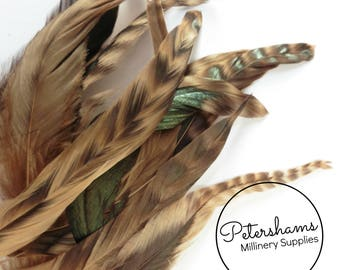 Full Coque Chinchilla Feathers for Millinery and Hat Trimming - Latte Brown