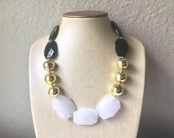Black White & Gold Big Bead Necklace, Statement Jewelry, white black gold Chunky bib, bridesmaids necklace, wedding necklace, bridal