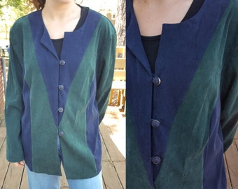 Vintage Blazer Cardigan - Lightweight Jacket - Halmode Plus - Button Down - Blue Green