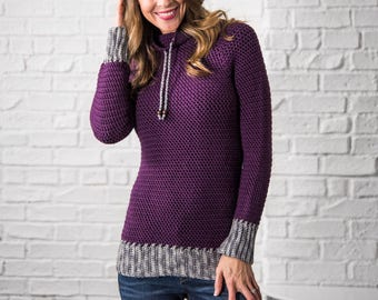 Crochet Sweater pattern, Women, plus size, top down crochet sweater pattern, cowl neck sweater, easy crochet pattern,