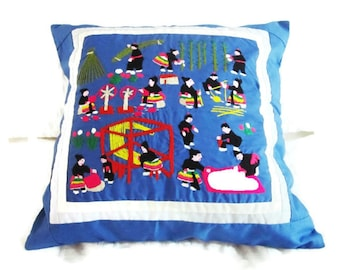 Vintage Hmong Cushion Cover -Hand Embroidered and Appliqued Cotton Folk Art  Pillow Cover