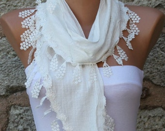 White Cotton Scarf, Bridal Scarf, Birthday Gift ,Cowl Scarf Bridal Accessories Bridesmaid Gift Gift Ideas  For Her Women Fashion Accessories