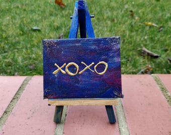 XOXO hand painted canvas with easel