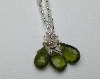 Three green drops of vesuvianite necklace