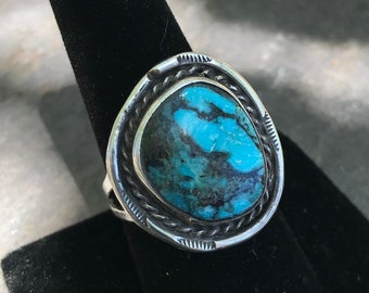 Navajo Genuine Turquoise and Sterling Silver Vintage Ring Native American Jewelry Size 9.5