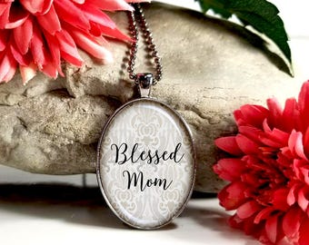 Blessed Mom-Large Oval- Glass Bubble Pendant Necklace