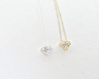 Gold Filled Sterling Silver Necklace Diamond Shape Cubic Zirconia Gold Plated Minimalist Delicate Bling Valentines Gift For Her Novelty CZ