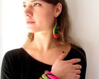 Large Cuff Bracelet -  Ankara Fabric layered jewelry -  Handmade