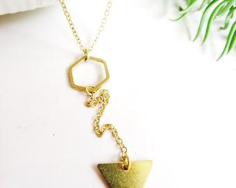 Modern Geometric Necklace, Brass Triangle, Asymmetrical Necklace, Hexagon Charm, Minimalist, Gift for Her