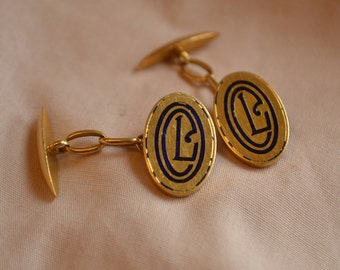 Mysterious antique 18K yellow gold and enamel monogram cufflinks