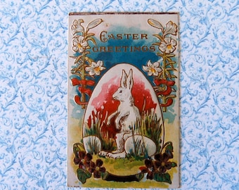 Vintage Art Deco Easter Bunny with Giant Easter Egg Postcard, Embossed, Bright Colors & Gold Details
