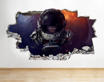 D554 Space Man Astronaut Galaxy Smashed Wall Decal 3D Art Stickers Vinyl Room