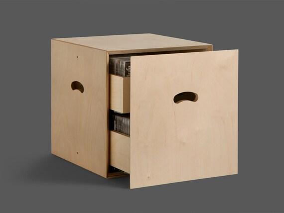 Sistema modulare in legno multistrato con 2 cassetti porta cd