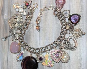 Vintage Purple & Silver Charm Bracelet Nine Heart Charms   J152