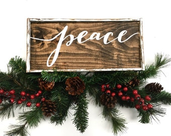 Peace Handcrafted Wooden Christmas Sign