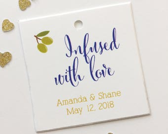 Infused With Love Tags, Olive Oil Wedding Favor Tags, Infused Love Wedding Hang Tags  (SQ-083)