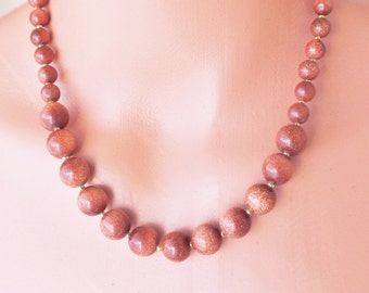 """Necklace """"Goldstone necklace earring Handmade .18 inches of glittering lights,  gemstone necklace w/ extension"""