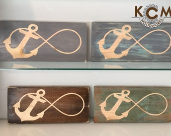 Infinity - Anchor - Hand painted, Rustic Wood Sign, Distressed Sign, Home Wall Decor, Wood Stain Sign