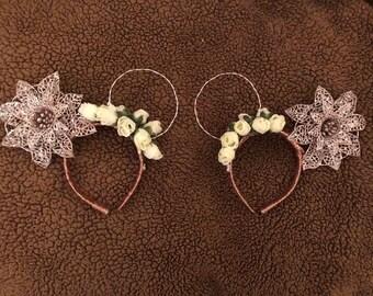 Rose Gold Flower Ears