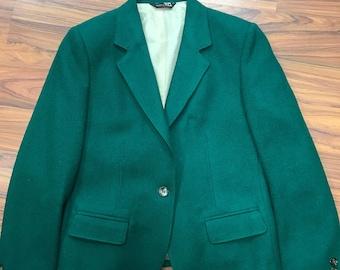 Ladies Vintage Green Blazer Size 8 Wool
